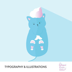 The Whipped Cream Kitties Typography & Illustrations