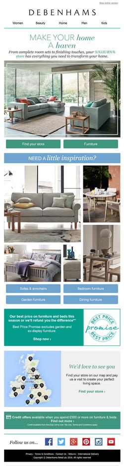 Debenhams Home email campaign