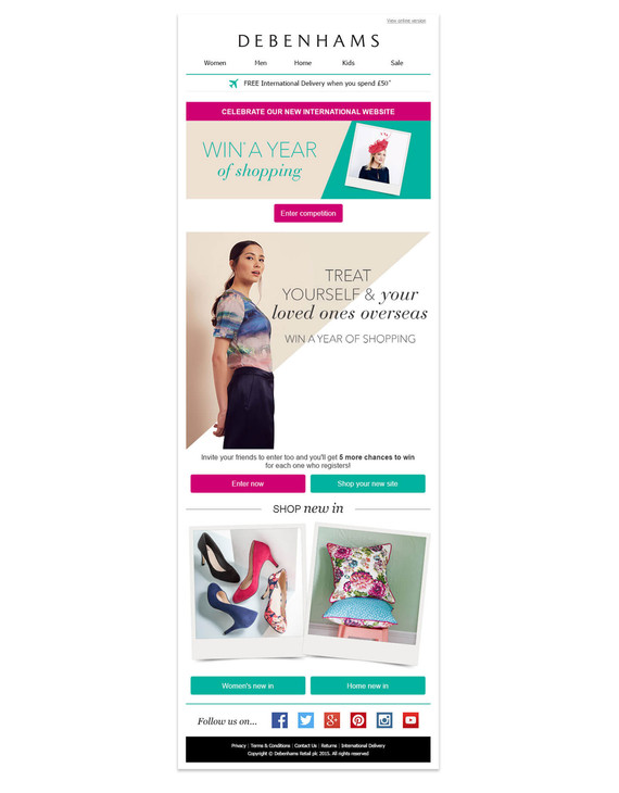 """""""Win A Year Of Shopping"""" Email Campaign"""