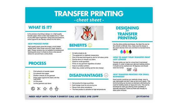 Cheat Sheet - Transfer Printing