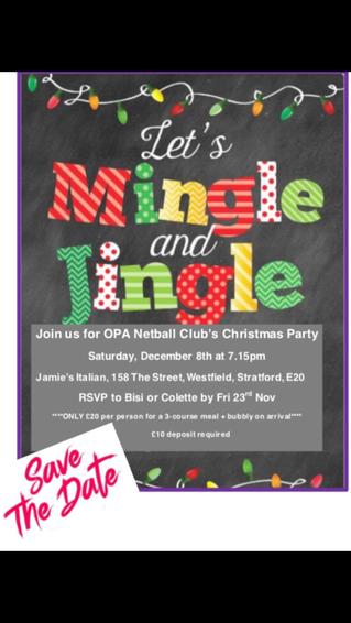 OPA Netball Club - Christmas Party Invite - 2018