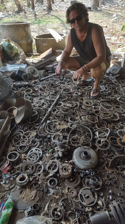 Ron collecting parts