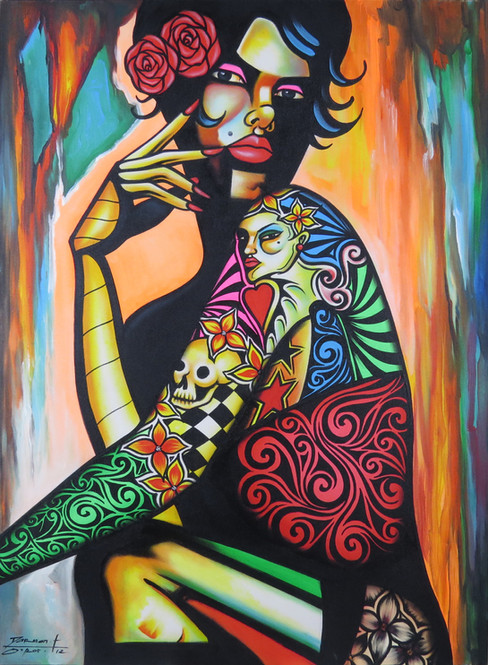 Tattooed Woman Painting
