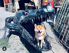 CROCODILE, DOG, METAL ART, METAL SCULPTURE
