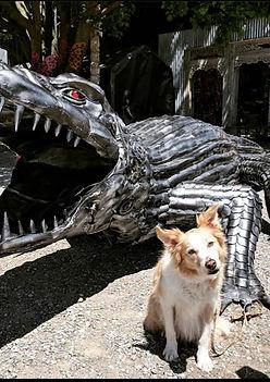 CROCODILE, METAL ART, METAL SCULPTURE, DOG
