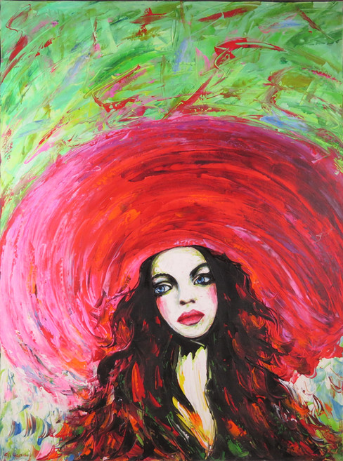 Colourful Hat Woman Painting