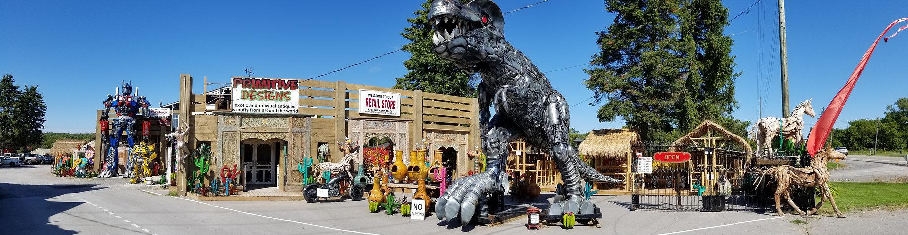T-Rex, chiminea, tiki bar, optimus, metal art