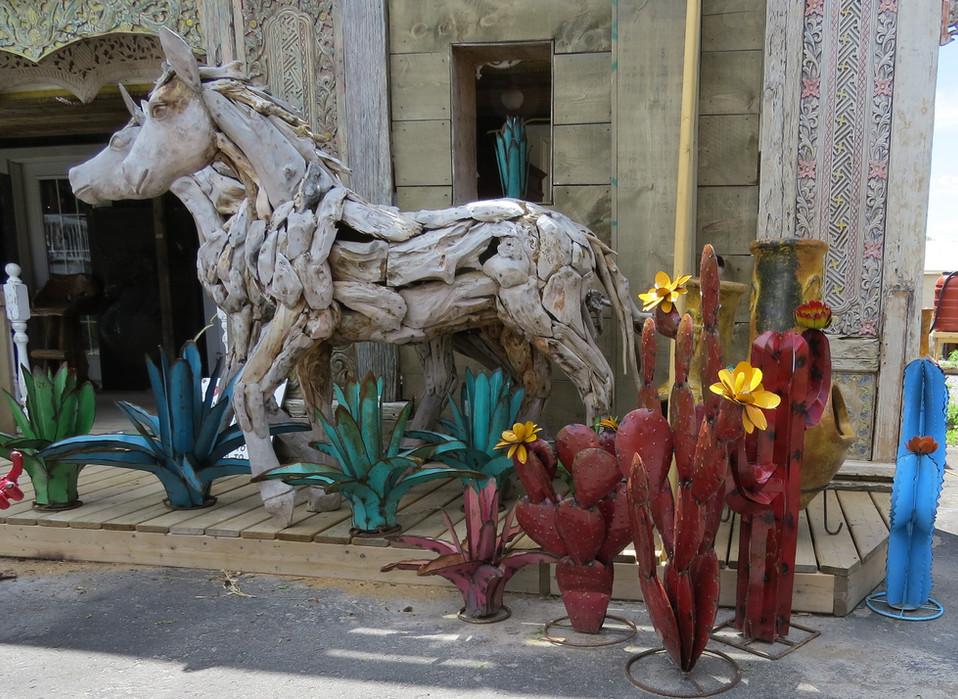 Metal Cactus and Wood Horses