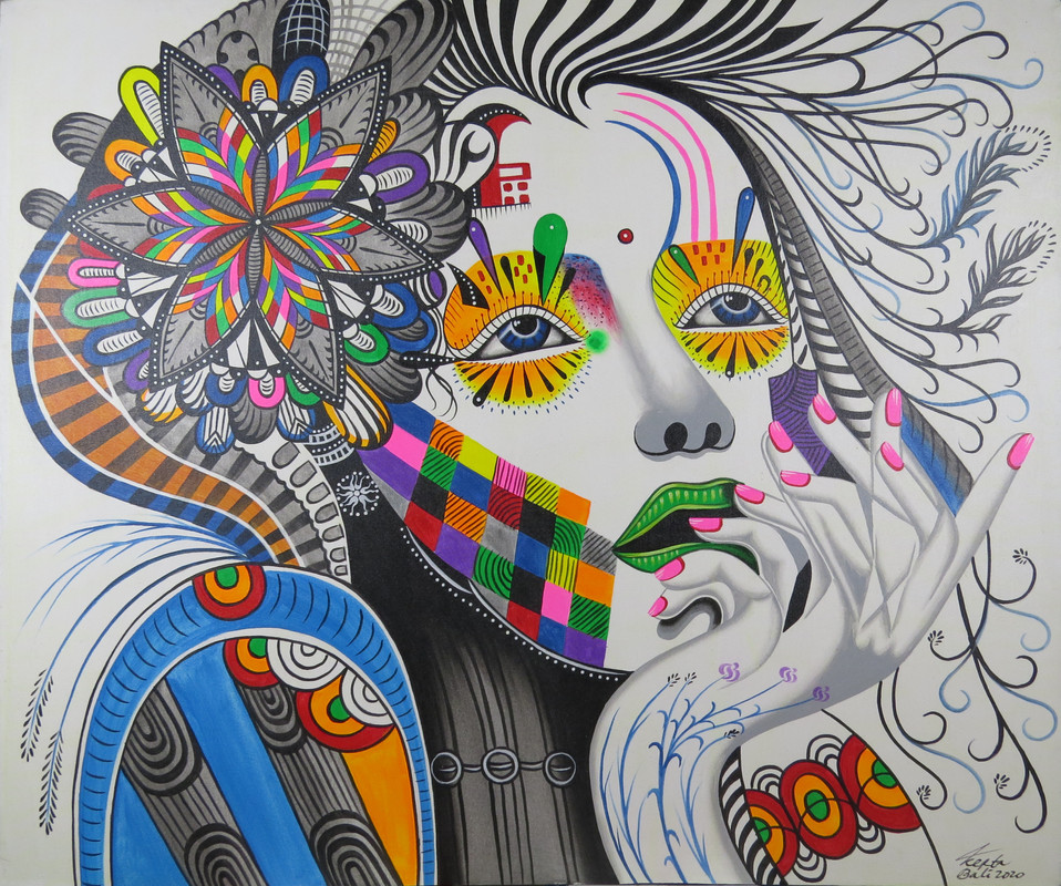 Bali Trippy Woman Painting