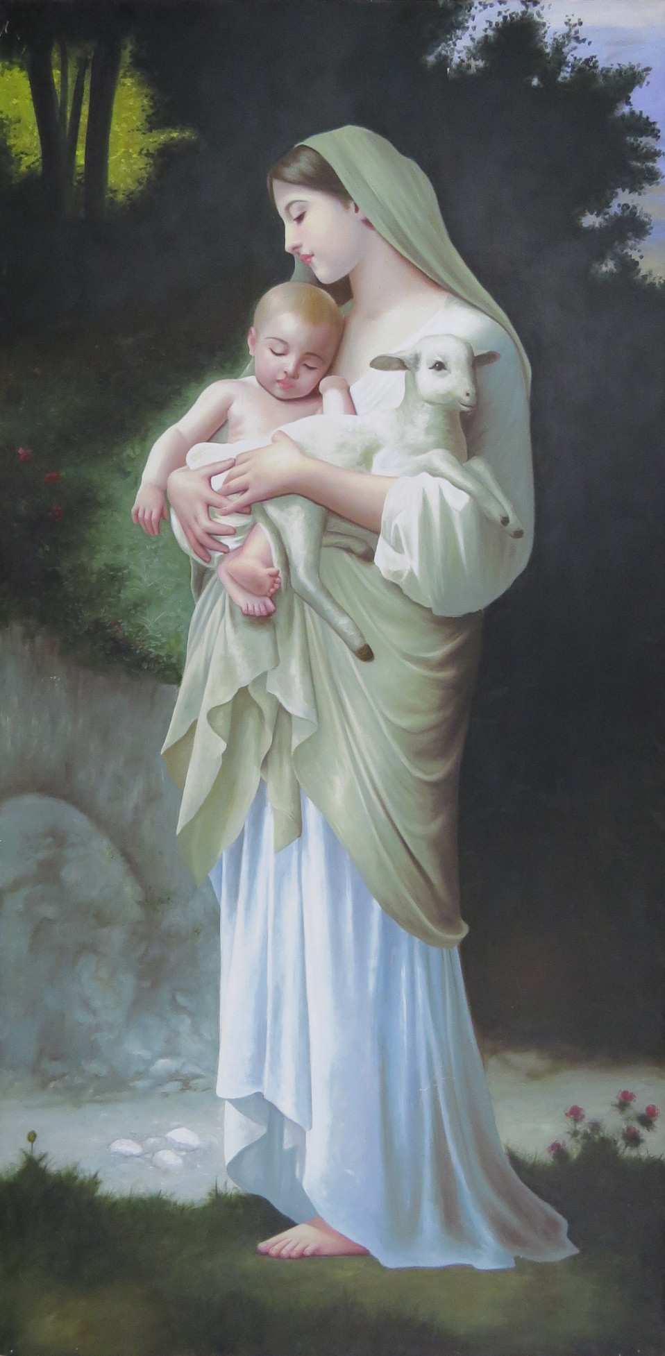 Mary, Jesus and Lamb Painting