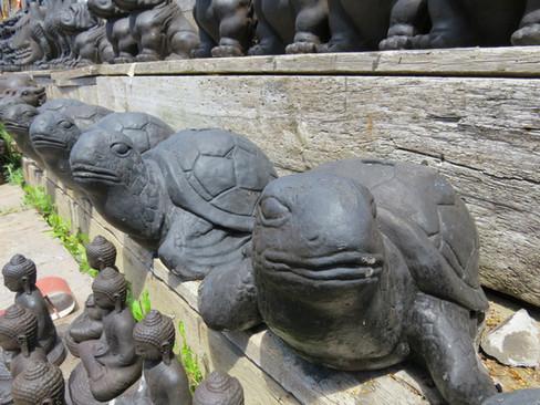 Turtle Umbrella Holder Stone