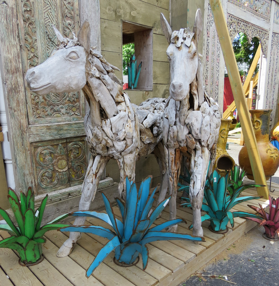 Metal Agave and Wooden Horses