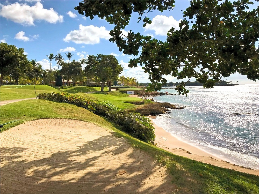 The warm caribbean sea washes up against the beautiful shoreline of Casa de Campo and Teeth of the Dog golf course in the Dominican Republic.