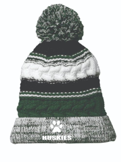 Monadnock Husky Pom Pom Winter Hat with embroidered logo