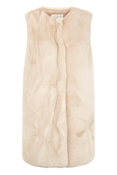 3648B - Faux fur waist coat - Beige