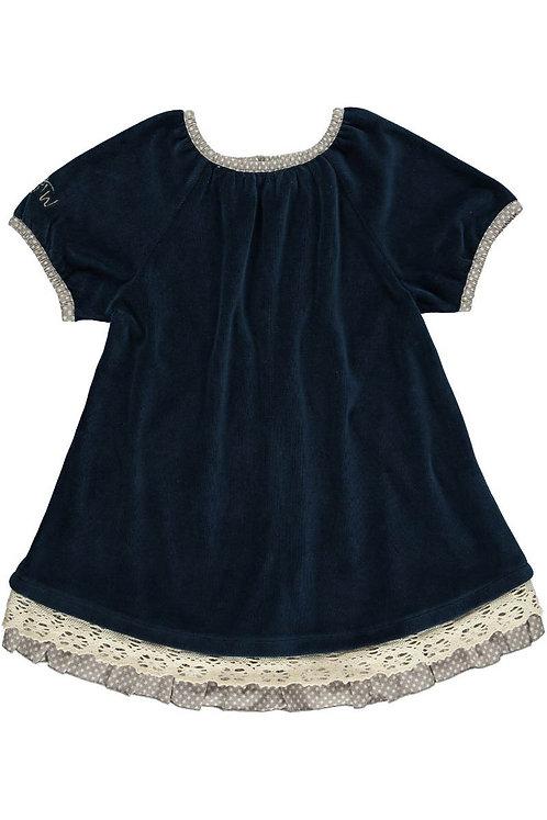 2518G - Velvet dress w.lace - Midnight blue