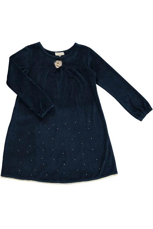 2519G - Velvet dress w.diamonds - Midnight blue
