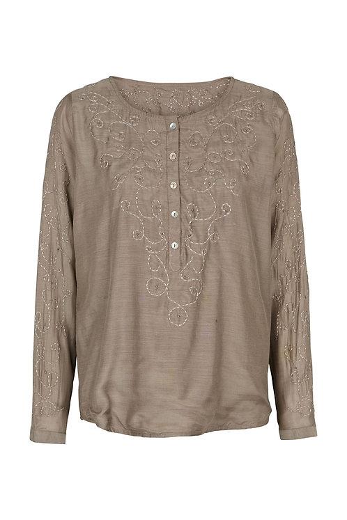 2600J - Embroidery shirt - Nougat