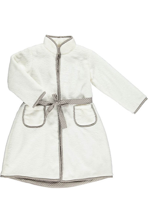 2539A - Fleece morning coat - Off-white