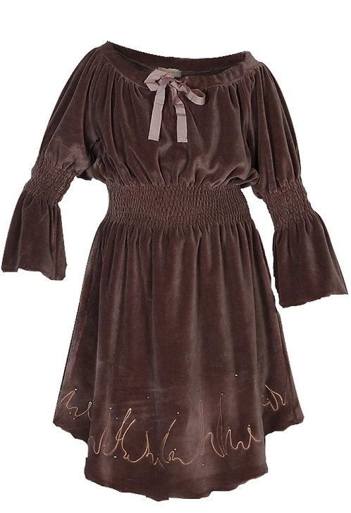 1564B - Velvet dress w.emb - Rosa
