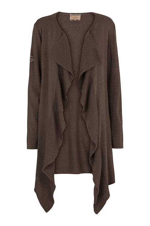 2550I - Cashblend coat w.frill - Stone