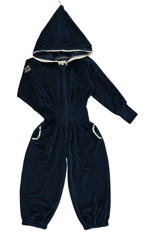 2537G - Velvet Jumpsuit - Midnight blue