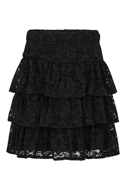 3460L - Lace frill skirt - Black