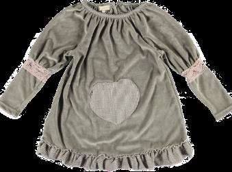 2175i - Velvet Dress w.frill - Stone