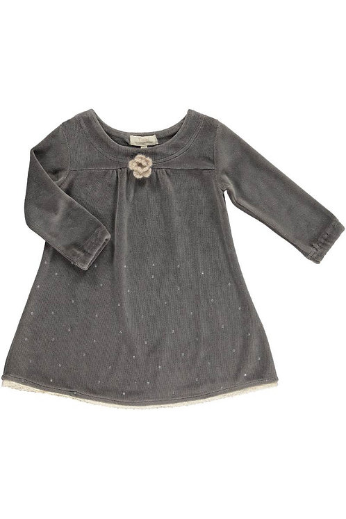 2519J - Velvet dress w.diamonds - Mocha