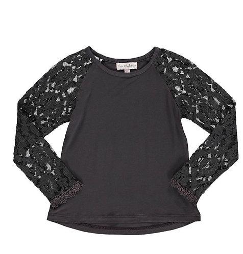 2851 - Lace T-shirt - Granit grey
