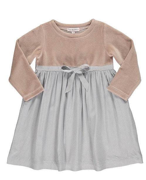 2845C - Velvet dress w.skirt - Rosa