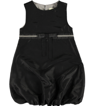 2221A - Baloon Dress - Black taft