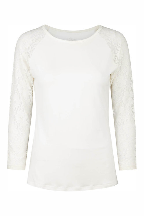 2636B - T-shirt w.lace sleeve - Off.White