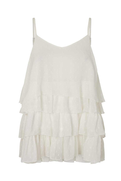 3782B - Georgette frill top - Off.White