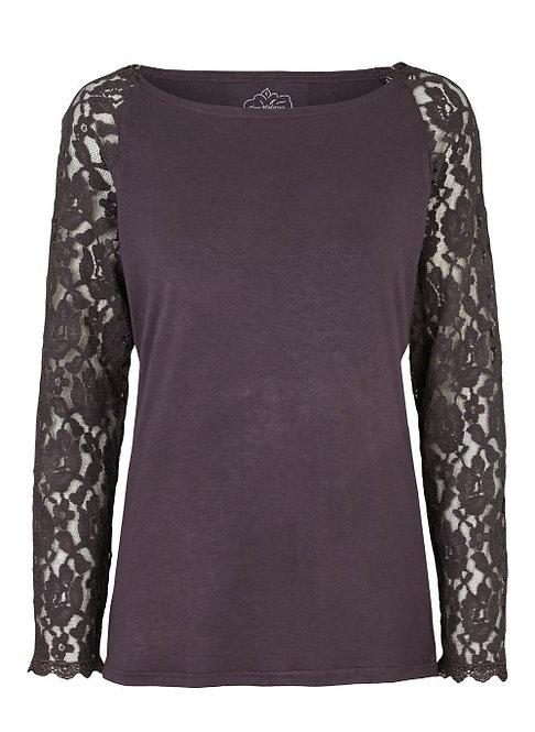 2851 - T-shirt w.lace sleeve - Granit grey
