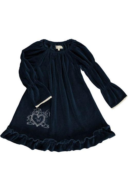 2515G - Velvet Tunica w.frill - Midnight blue