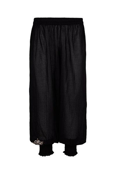 2444L - Baggy pants w.smock - Black