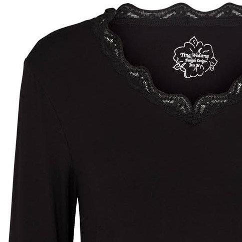 3662L - V blouse - Black