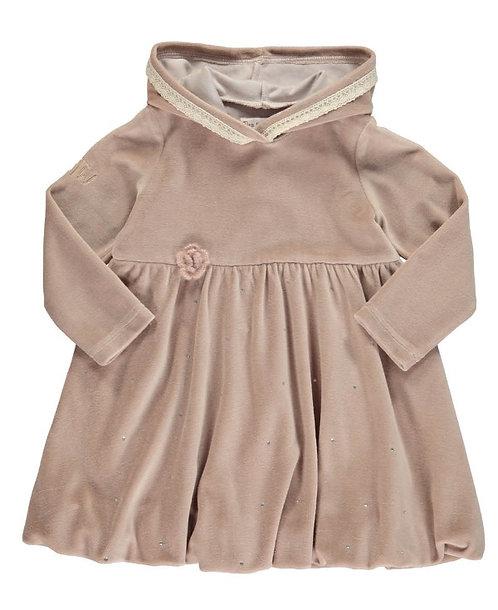 2847C - Velvet hood dress - Rosa