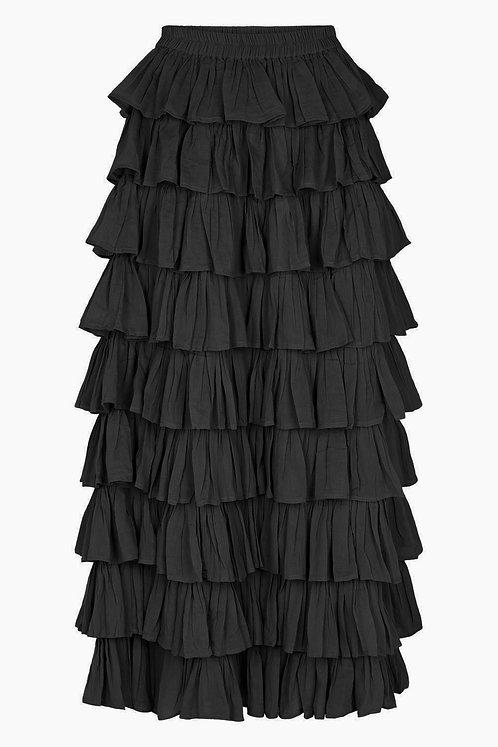 3804L - Long frill skirt - Black
