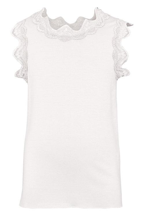 3357B - Top w.lace - Pearl