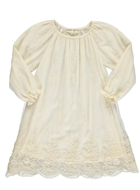 2924B - Dress w.lace - Creme