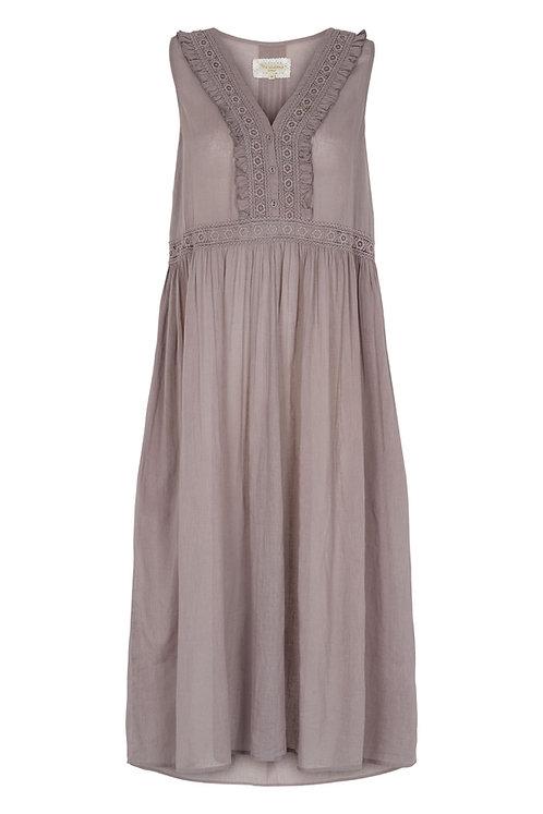 3810J1- Long dress w.lace - Mink