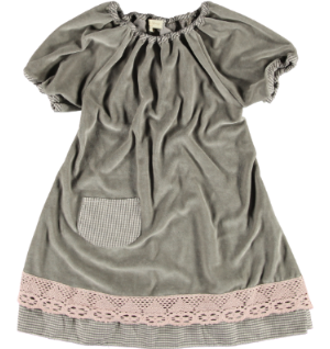 2173i - Velvet Dress w.lace - Stone