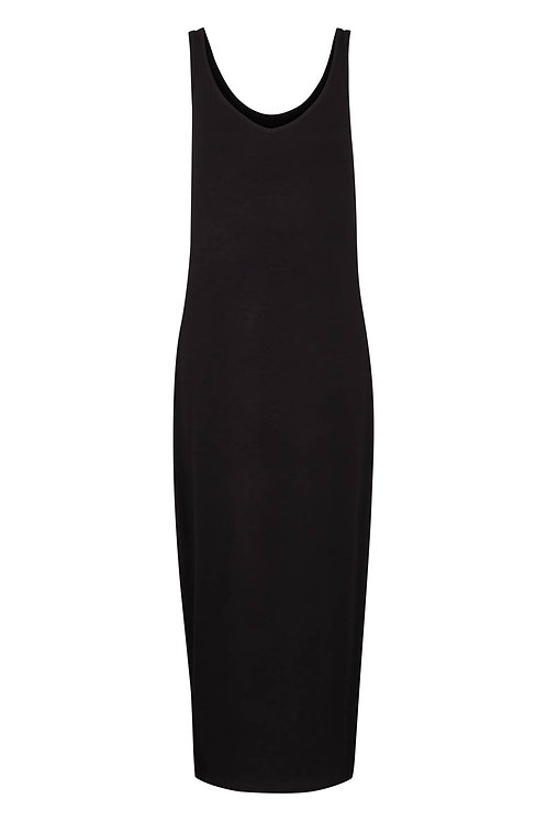 3329L - Long viscose dress - Black