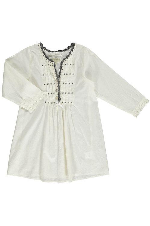 2602B - Shirt w.crochet neck - Off-white