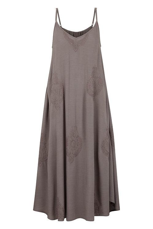 3405J - Viscose strap dress - Silk mink