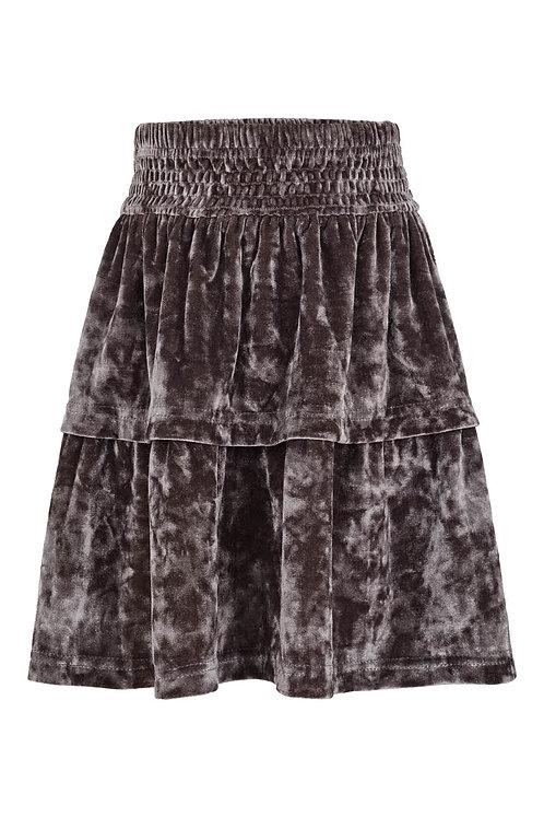 3642K - Silky velvet skirt - Granit blue