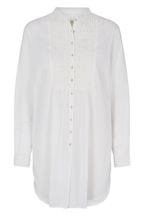 3819B - Cotton shirt w.lace - White