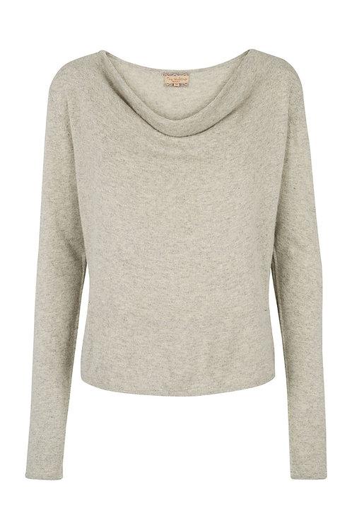 2547H - Cashblend drape blouse - Light grey